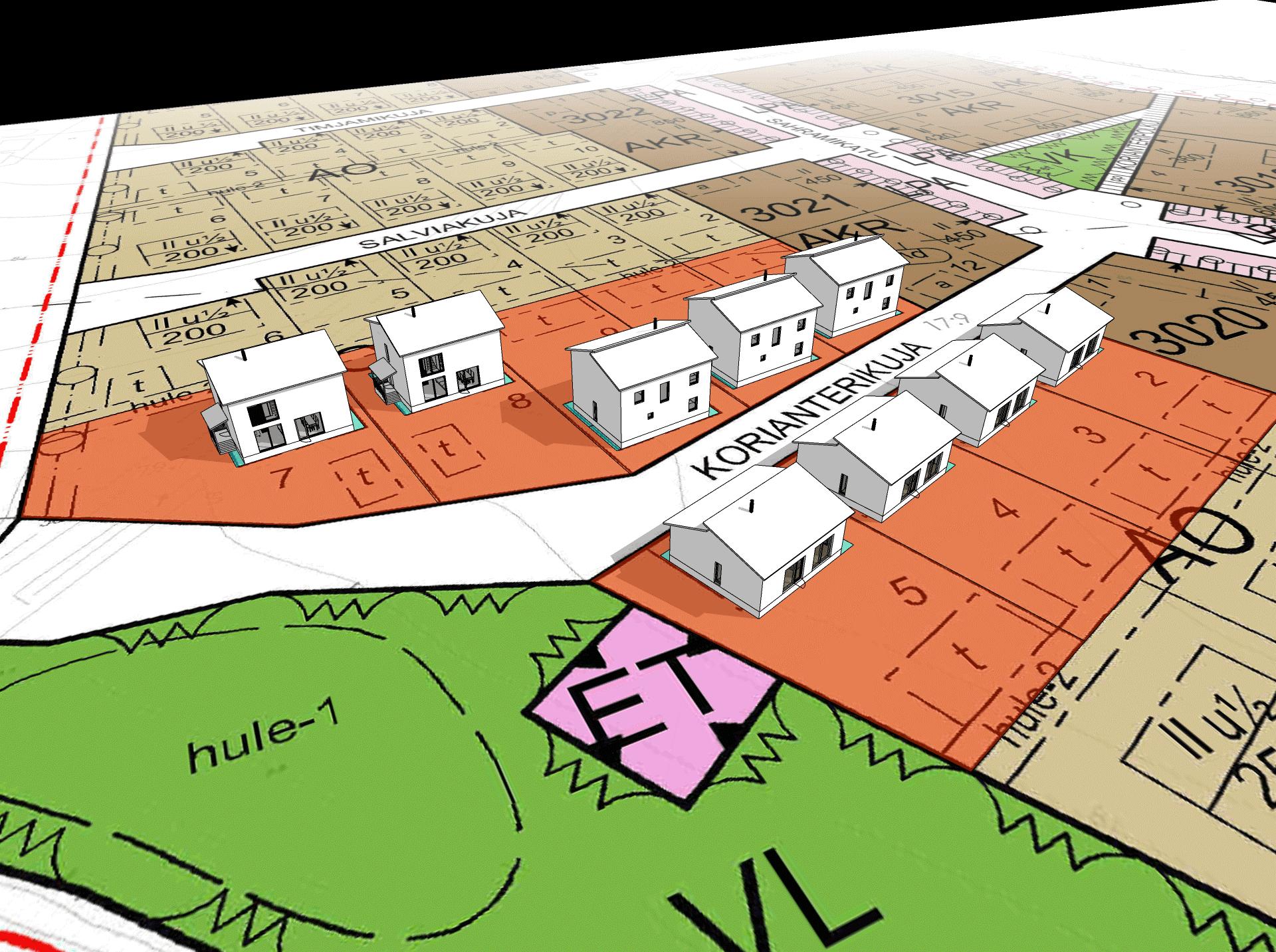 Ensimmäiset 9 taloa Korianterikujalla